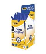 Stylo Bille BIC CRISTAL pointe moyenne couleur bleue Boîte 50 stylos