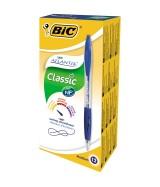 Stylo Bille BIC ATLANTIS CLASSIC - Pointe Moyenne 1 mm - Encre bleue - Boîte 12 stylos
