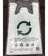 Sac Plastique Blanc à bretelles 26+12x45 cm Paquet de 50 sacs