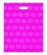 """Sac plastique """"Spirales"""" Rose à poignées découpées renforcées 40x50cm. Paquet de 100"""