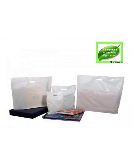 Sac Plastique Blanc à poignées découpées renforcées dès 6.90€