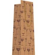 Sac luxe brun mat 1 Bouteille motifs verre à pied