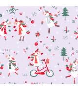 Papier cadeau gris clair motifs Noël Licorne dès 25.99€
