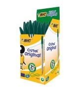 Stylo Bille BIC CRISTAL pointe moyenne couleur verte Boîte 50 stylos