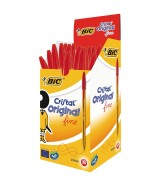 Stylo Bille BIC CRISTAL pointe moyenne couleur rouge Boîte 50 stylos