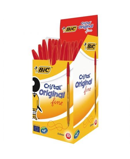 Stylo Bille BIC CRISTAL pointe moyenne couleur rouge Boîte 50 stylos