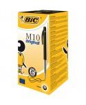 Stylo Bille BIC M10 CLIC - Medium Pointe Moyenne 1 mm - Encre Noire - Boîte 50 stylos