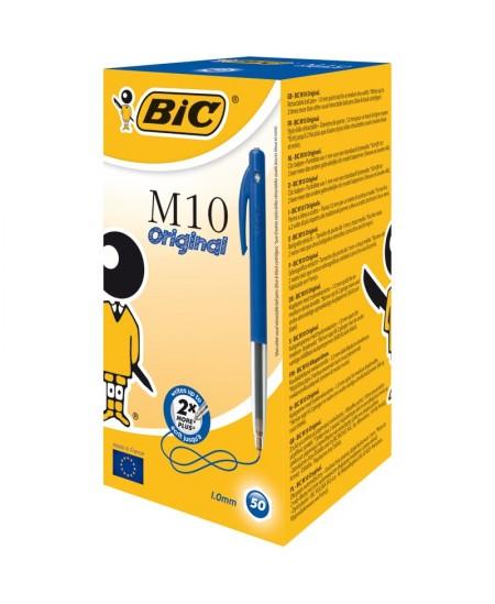 Stylo Bille BIC M10 CLIC - Medium Pointe Moyenne 1 mm - Encre Bleue - Boîte 50 stylos