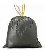Sacs poubelle polyéthylène à liens coulissants 100 litres 820 x 900 + 50 mm Paquet de 20 sacs