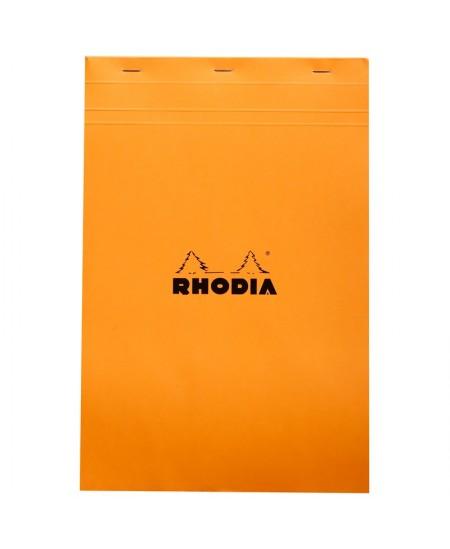 Rhodia - N°19 - Bloc Agrafé 80 Feuilles Détachables - Petits Carreaux 5x5 - 21 x 31,8 cm - Orange
