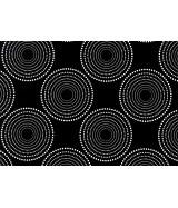 Papier cadeau ROULEAU 0.70x100m dessin simple fond noir sur couché 90gr RONDS POINTS CIBLE