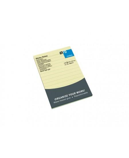 Info notes 150x100mm jaune ligné bloc de 100 flles