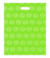 """Sac plastique """"Spirales"""" Vert à poignées découpées renforcées 40x50cm. Paquet de 100"""