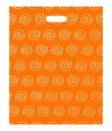 """Sac plastique """"Spirales"""" Orange à poignées découpées renforcées 40x50cm. Paquet de 100"""