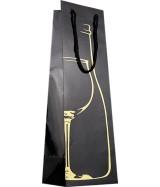 Sac luxe brillant 1 Bouteille Noir à motif Or