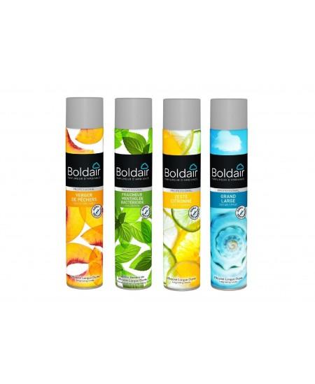 Désodorisant parfumant Boldair®. Colis de 6 aérosols