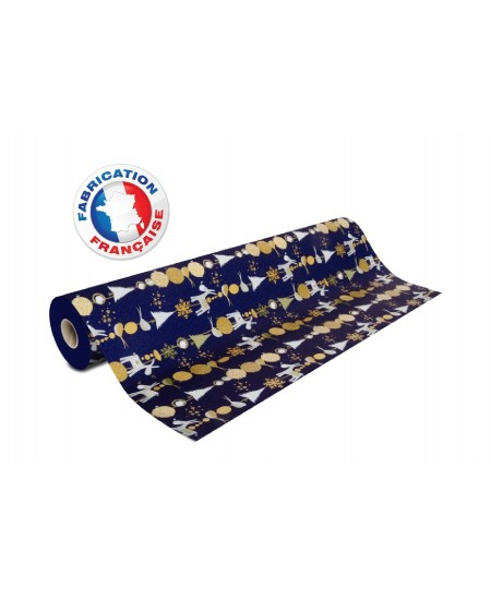 Papier cadeau Bleu mat motifs Noël Ane brillants dès 25.99€